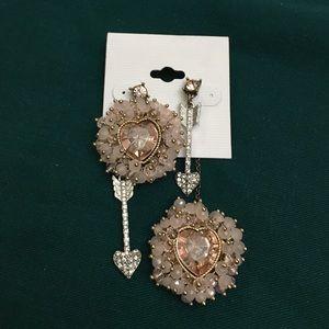 Betsey Johnson woven heart earrings